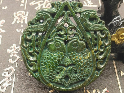 Old China Hand-carved jade Pendant worn aristocratic art collection  A145