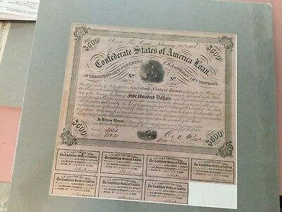 TYpe 137 1863 $500 Confederate Bond Professionally matted