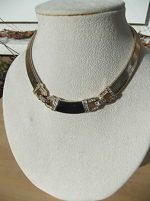 Christian Dior Necklace with Black Onyx Crystals Gold Excellent Condition