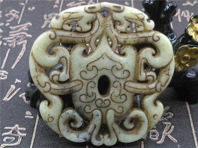 Old China Hand-carved jade Pendant worn aristocratic art collection  A132