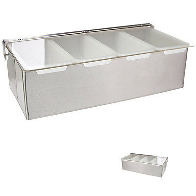 Condiment Dispenser With 4 Compartments Removable Tray Stainless Steel New Star