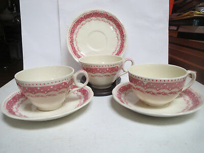 Grindley - Avon - Set Of 3 Teacups And Saucers - Off White With Pink