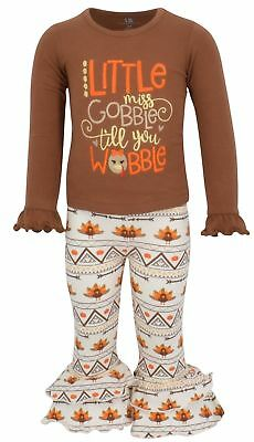 Girls Boutique Gobble Turkey Thanksgiving Dinner Outfit 2t 3t 4t 5 6 7 kids set