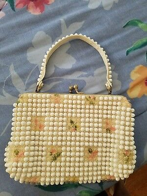 Vintage 1960s Grandee Beaded Purse with Flowers
