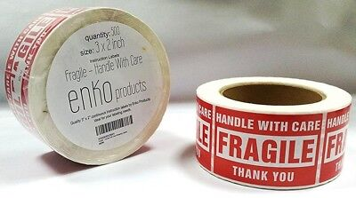 "1 Roll with 500 Labels 2 x 3"" Fragile Stickers Handle With Care Shipping Label"
