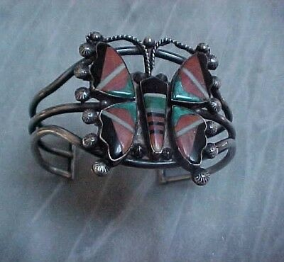 Zuni Inlaid Monarch Butterfly Bracelet Jet,spiny Oyster Shell,turquoise,mop
