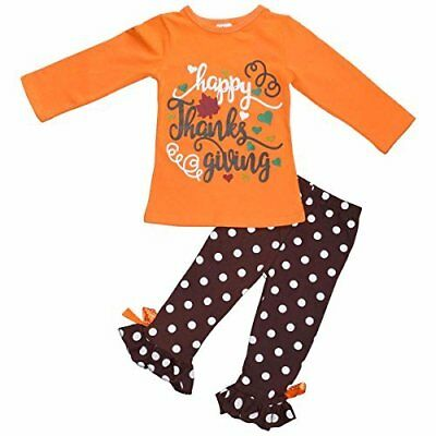 """Girls """"Happy Thanksgiving"""" Orange and Brown Fall Boutique Outfit 2t 3t 4t 5 6 7"""