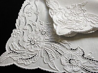 WHITEWORK FLOWERS Vintage MADEIRA 16pc Placemats Napkins Hand Embroidery Linen