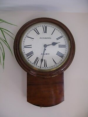 "Fusee  Large Drop Dial Wall Clock-16"" Dial Chain Fusee Movement Date's To 1880's"