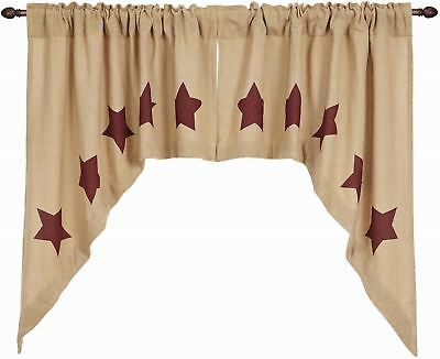 Woven Cotton Burlap Window Swag Set with Burgundy Stars Rustic Natural Tan & Red