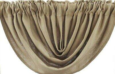 "Burlap Natural Tan 100% Cotton Rustic Country Window Balloon Valance 60"" W"