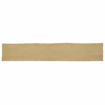 """Burlap Natural Tan Cotton Table Runner Rustic Country Fringed Edge 13"""" x 72"""""""