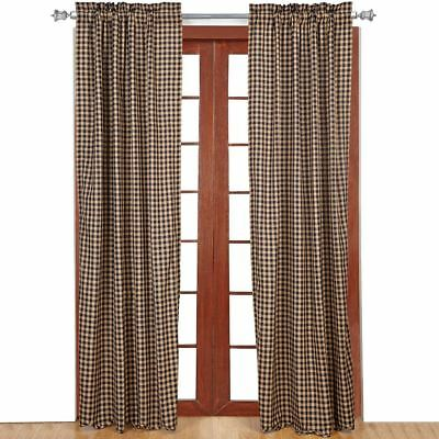 """Navy Blue & Tan Check Countrytyle Scalloped Hem Lined Window Curtains 84"""" Long"""