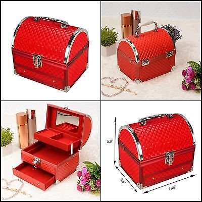 Makeup Jewelry Cosmetic Organizer Storage Case Holder Drawer w/Mirror Train Red