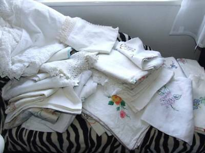 Huge Lot Of Vintage Embroidered Table Cloths & Linen  30 Pieces