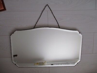 Vintage ? Antique ? Frameless Frame Less Hanging Wooden Backed Wall Mirror