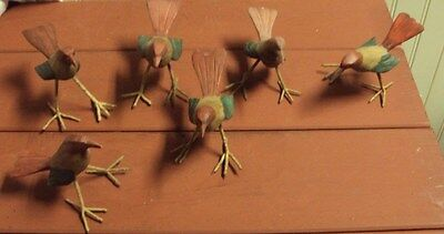 Lot Of 6 1950's Hand Carved And Hand Painted Wood Birds With Wire Wrapped Feet