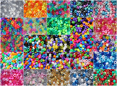 Barrel Pony Bead Mixes 9mm x 6mm Hole 4mm 100, 500 or 1000 Xmas, Wedding, Frozen