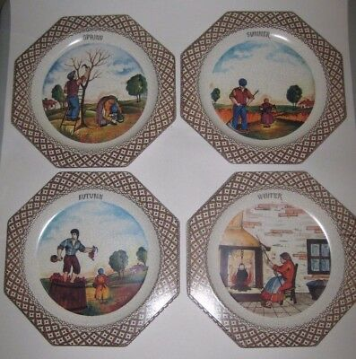 The 4 SEASONS Octagon PLAQUES w/CRACKLE Vintage MELAMINE Made in ITALY