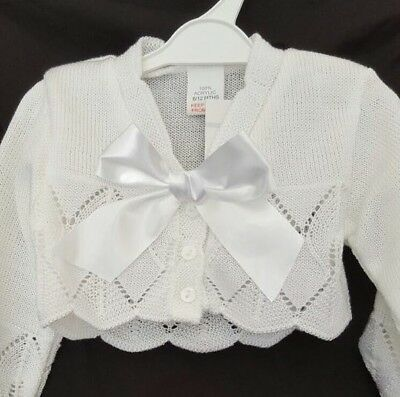 Spanish Style Baby Girl White Cardigan / Bolero with Bow.