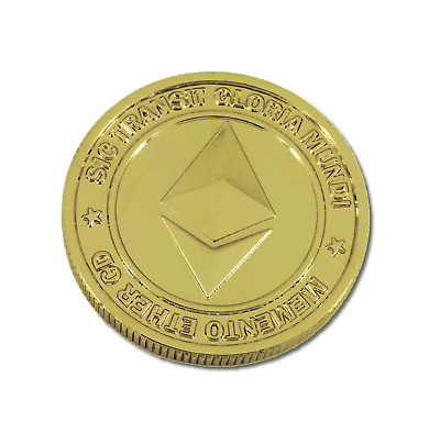 Ethereum Physical Gold Plated Imitation Commemorative Collectors Coin 1 Ether