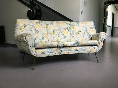 Vintage Midcentury 1950's Italian Curved Sofa by Gigi Radice for Minotto Ponti