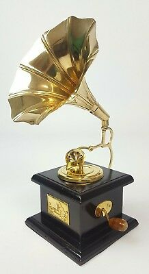 Decorative Wood + Brass Gramophone Reproduction - Height 24cm - gift ideas