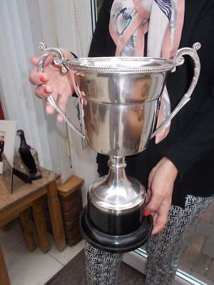 Large & Impressive Arthur Price Silver Plated Trophy Cup On Base Golf Award