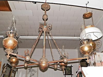 ANTIQUE 1800s~ 4' ORNATE BRASS CHANDELIER~BRADLEY HUBBARD~HOMER OPERA HOUSE~NR