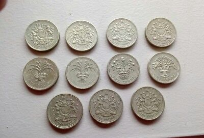 11 British One Pound Coins - England Pound Lot of 11 Coins