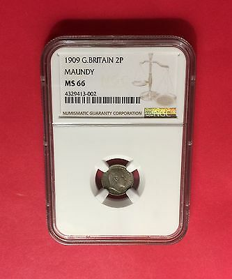 Great Britain -Uncirculated 1909 Maundy Silver 2 Pence -Ngc Ms66.