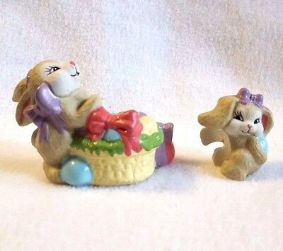 Easter Bunny Figurines Candle Holder and Climber Porcelain 2 pc Set