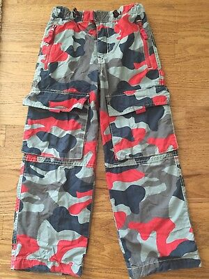 Mini Boden Size 6 Boys Blue Red Camo Lined Skate Pants 6y