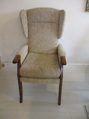 Fabric And Wooden Wing Back Armchair Arm Chair