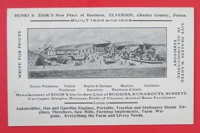 Henry Zook's Buggies Carriages Surreys Elverson PA Advertising Card