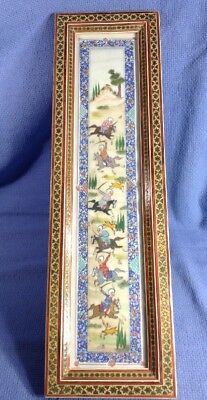 Art Japanese Hand Painted Picture And Frame Horses And Warriors