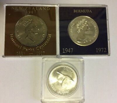 2 Large Silver Coins 1967 Canada Dollar 1972 Bermuda 1987 New Zealand $1 Proof