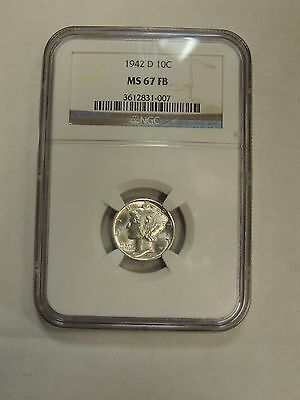 1942-D Mercury Dime NGC MS67FB ~ Full Bands 10c
