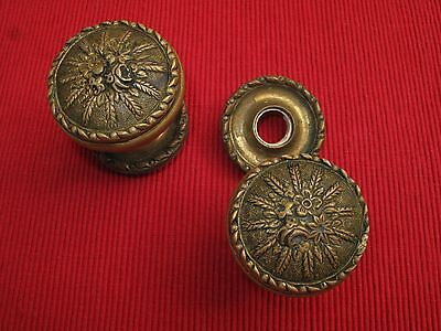 Vtg Antique Floral Brass Doorknobs W/ Rosettes Wheat Floral Pattern Spain