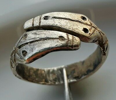 Celtic Silver ** Two Head Snake / Horse Ring ** Amazing Ring ** !! Rare !!
