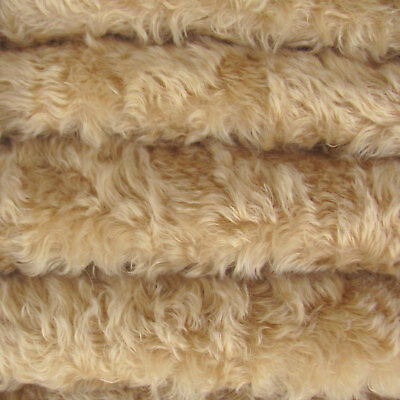 """1/3 yd 850/WHIRL Wheat INTERCAL 1"""" Extra-Dense Whirl Mohair/Viscose Fabric"""