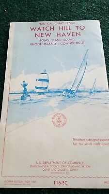 1969 nautical chart 116-sc  watch hill to new haven long island sound 8th ed.