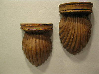 Antique Hand Carved Wood Wall Sconce Or Bookends