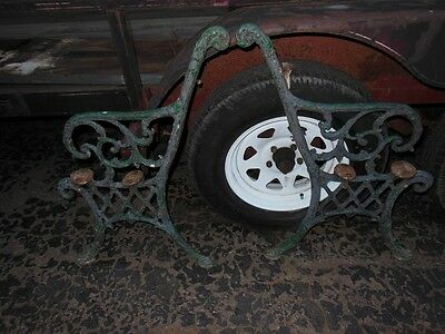 PAIR antique cast iron bench sides 1920s ornate chippy paint See pics, beautiful