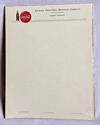 Vintage Jackson Tennessee Coca Cola Bottling Co Letterhead Stationery Coke Paper