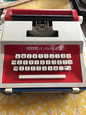 Vintage Red And White Sears Holiday 2 Child's Typewriter Collectible Retro Case