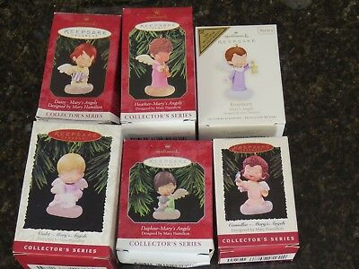 Vintage  Hallmark Ornaments Lot of 6 Mary's Angels Series In Original Boxes!