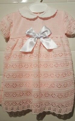 Spanish Style Baby Girl Pink & White Knitted Dress and Pants Set / Outfit