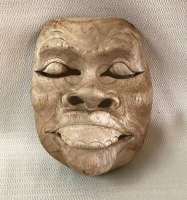 Vintage Wooden Asian Theater Mask Wall Art #4 Wood Hand Carved  OOAK