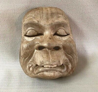 Vintage Wooden Asian Theater Mask Wall Art #7 Wood Hand Carved  OOAK